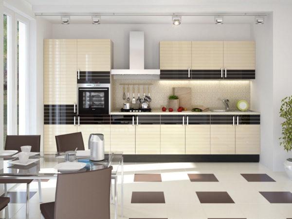 Кухня глянцевая, эмаль и шпон - Вариант № 8