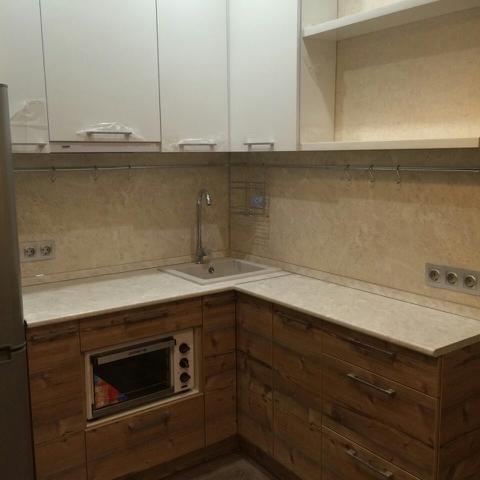 Кухня матовая, шпон и краска, цвет, эбеновое дерево — Вариант № 5