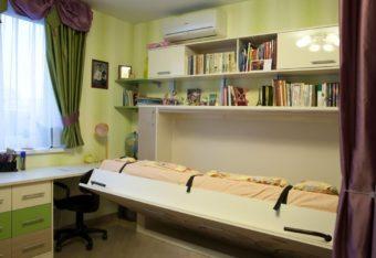 Шкаф кровать с рисунком