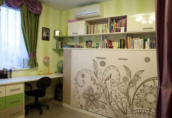 Шкаф кровать с рисунком 1,5