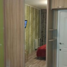Встроенный шкаф в комнату с зеркалом и лдсп с угловыми полками