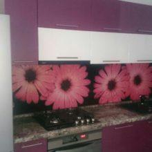 Кухня угловая бордовая